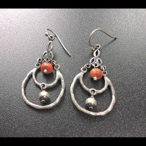 Silpada Sterling Silver Sponge Coral Earrings
